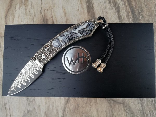 WILLIAM HENRY KNIVES SILVER SEA Damastmesser ZDP 189 Wellendamast Sterling Silber Fossil Koralle